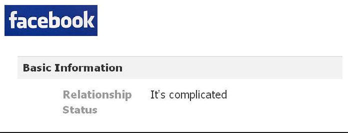 facebook status: it's complicated