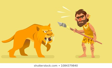 saber tooth tiger with caveman